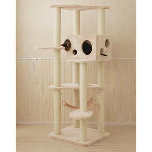 大きなチーズハウスのキャットタワー/ピンクとベージュ/ねこタワー/Mau/アラモード
