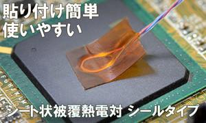 K型シート状熱電対 シールタイプ ミニチュア 片側先バラ 3mケーブル