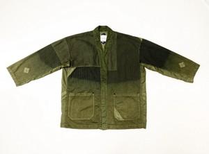 20SS 硫化染めクレイジーパターンストライプキモノシャツ / Sulfide dyeing crazy pattern stripe kimono shirts / Khaki
