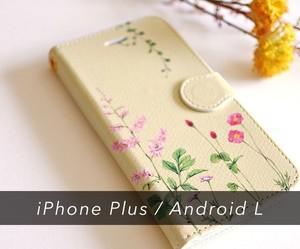 ピンクの花たちのスマホ / iPhoneケース手帳型〔大型モデル専用ページ〕