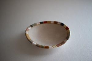 古川真紀子(撫菜花工藝)|モザイクタイル文様 楕円豆皿