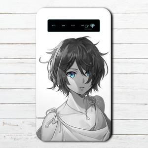 #010-007 モバイルバッテリー おすすめ iPhone Android おしゃれ メンズ 可愛い スマホ 充電器 タイトル:碧眼 作:猫月ユキ
