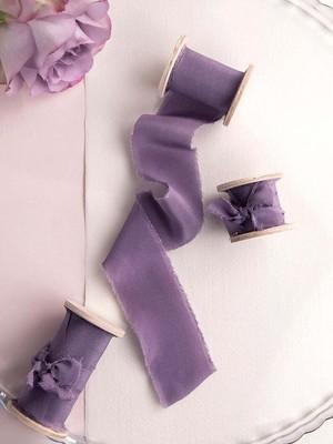 Amethyst   Silk  Ribbon(手染め手裂きタイプ) ■木製スプール付 アメジスト