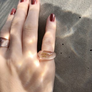 RING || MINI ROUND SHAPED CLEAR RING WITH LINES || 1 RING || GOLD || FBF901
