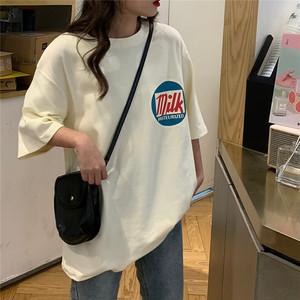 【トップス】五分袖ストリート系プルオーバーアルファベットTシャツ