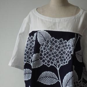 天然素材 浴衣とガーゼ 紫陽花模様 レディースシャツ
