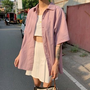 【トップス】新作ファッションルーズレトロ無地シャツ