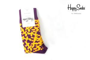ハッピーソックス|happy socks|クルー丈カジュアルソックス|パープル×イエロー