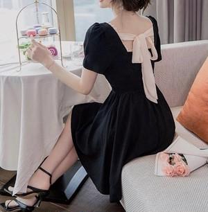 square scallop ribbon dress