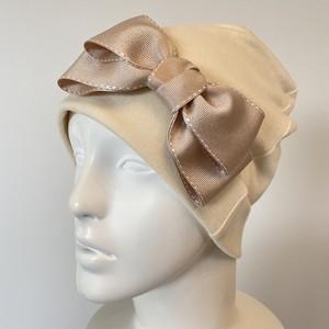 オーガニックコットンステッチリボンのケア帽子 アイボリー