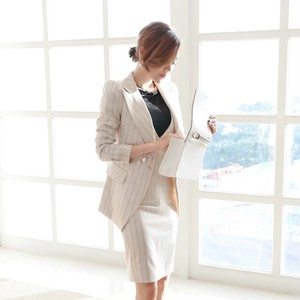 【送料無料】スカートスーツ上下2点セット スーツ 女 結婚式 ビジネス ストライプ おしゃれ ジャンパースカート ドレス