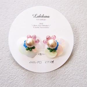 20%OFF☆115ホワイトバタフライ:ピンク・緑・青(ピアス)
