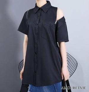 Tシャツ カットソー モダン シック 黒 ブラック 白 ホワイト デザインカット スタイリッシュ モード系 ヴィジュアル系 1585