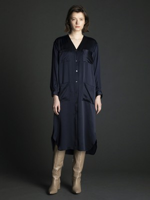 v-neck silk long shirt dress