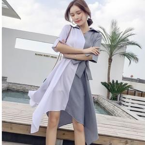 【dress】不規則切り替えストライプ柄カジュアルワンピース21083227