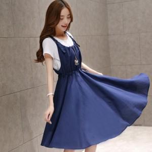 2点セットアップ ジャンバースカート サロペットスカート Aライン フレアースカート 2色 ネイビーブルー ベージュ 吊りスカート
