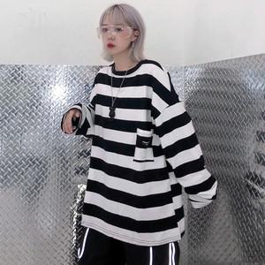 【トップス】カジュアル韓国系長袖ストライプ柄Tシャツ22313905