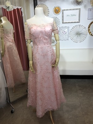 ピンク ミモレ丈 後ろ編み上げ カラードレス ピンク