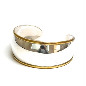 Vintage Mexican Silver & Brass Wide Bangle