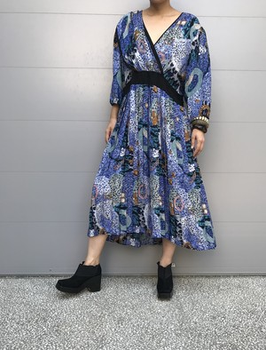 Diane freis blue leopard × jewelry print silk dress ( ダイアン フレイス 宝石柄 シルク ワンピース )