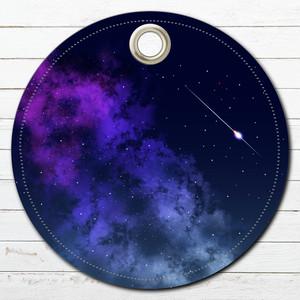 キーホルダー革 バッグチャーム スマホストラップ おしゃれ かっこいい イラスト 綺麗 タイトル:星空 作:んご