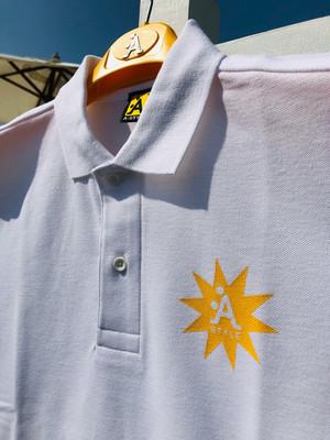 A-STYLE★ポロシャツ White x Yellow LOGO