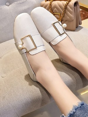 【shoes】Square head shallow mouth flat shoe