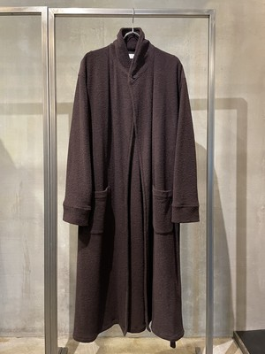 T/f Lv7 wool boucle knit maxi gown coat - burnt