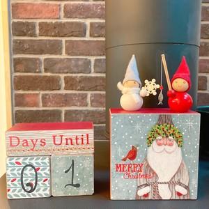 ウッドブロッククリスマスカウントダウン アドベントカレンダー  置き物 クリスマスディスプレイ インテリア