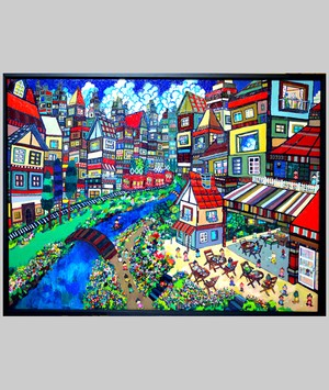 OIL COLOUR | 日曜日のまち | SUNDAY'S TOWN | 油彩画