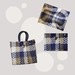 カラフルカゴバッグ 留め具付 ハンドバッグタイプ 全3色