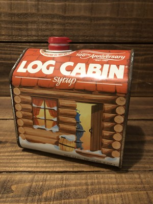 "VINTAGE TIN CAN ""LOG CABIN"""