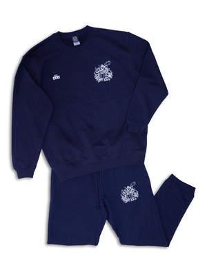 STAY HOME ROOM SWEAT SET UP navy
