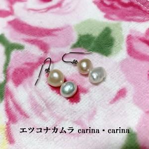 ピンクと白の淡水パールピアス2