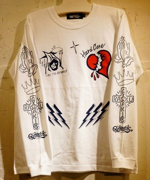 RAKUGAKI THUNDER CROSS Long T-Shirts White