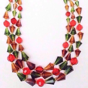 orange green brown necklace[n-18]