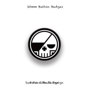 25mm Button Badges / Round Skull Design 001