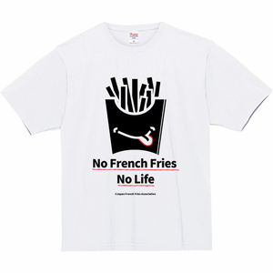 Tシャツ(No French Fries No Life - 白地-黒)