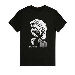メンズビッグサイズグープリントロゴTシャツ。ブラックカラー