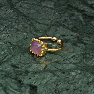 SINGLE SQUARE STONE RING GOLD 014
