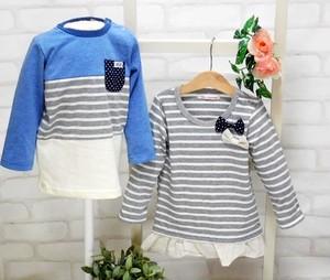 【ラスト1セット】双子ベビー服/2枚セット/ミックスツイン/胸リボンボーダーチュニック&長袖Tシャツ80cm(青×グレー)<15ss-mt001r-F>