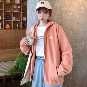 【トップス】韓国系フード付き刺繍カートゥーンジッパーカーディガン38523106