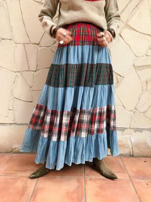 70s plaid × denim long skirt ( ヴィンテージ チェック柄 × デニム ロングスカート )