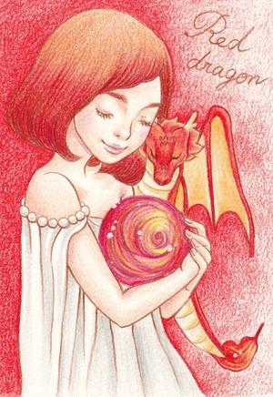 赤い龍女の子のハガキ