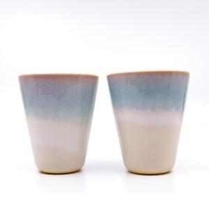 ペアカップ mint 青い萩焼