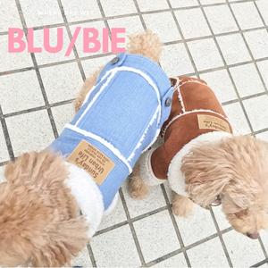 ムートンコート【denim & beige】