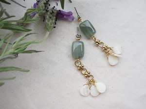 shell stone chain pierce/earrings