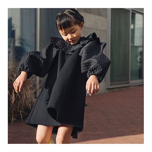 WAVE CUT SLEEVES PLEATS COLLAR DRESS