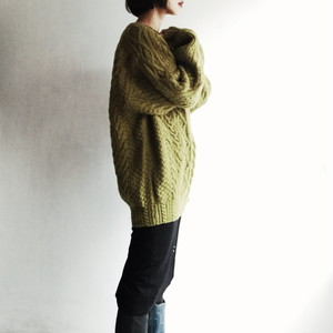 Matcha green cable knit