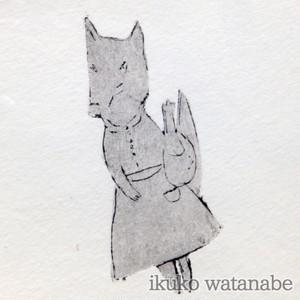 版画カード - キツネ マダム - わたなべいくこ - no9-wat-05